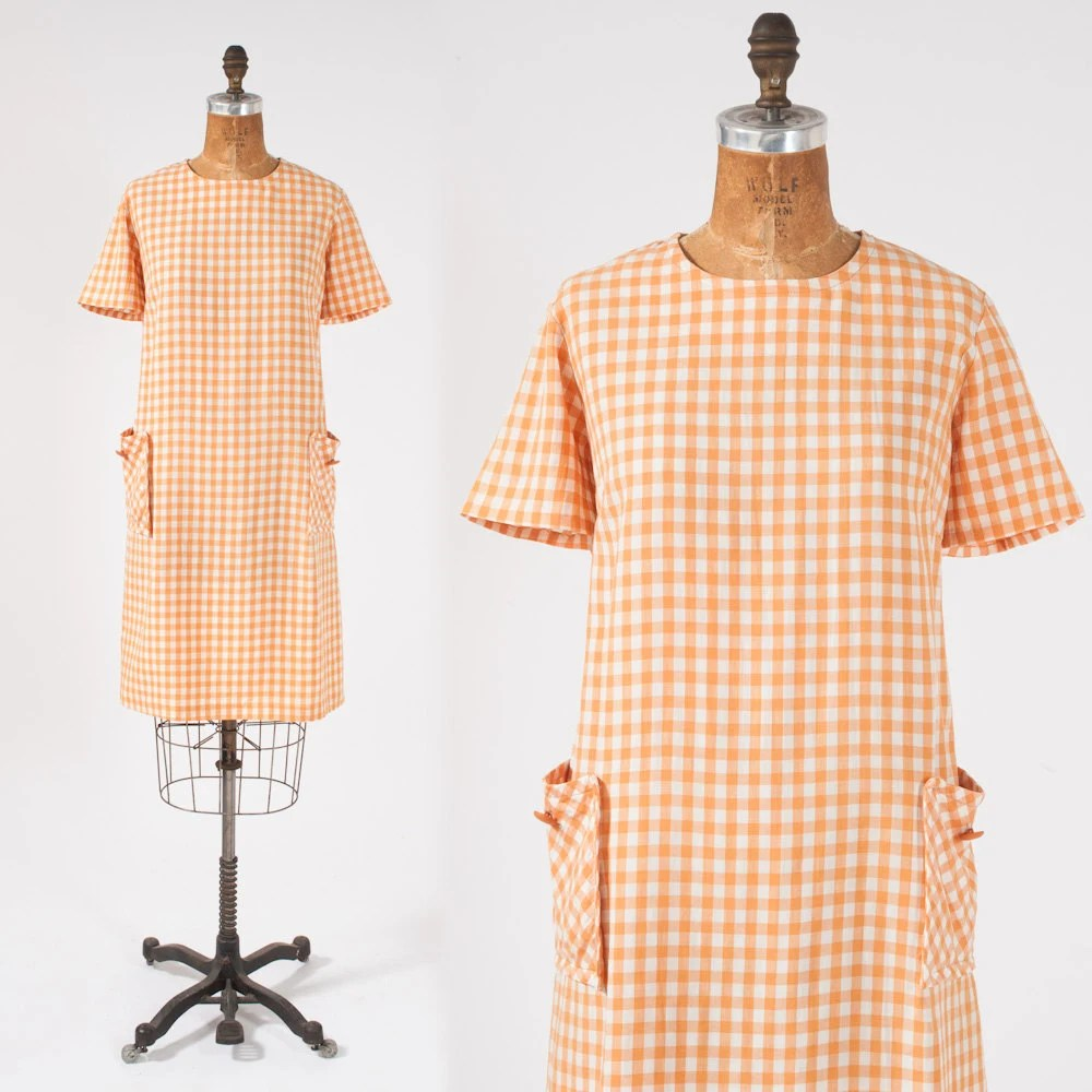 Vintage 60's Creamsicle Checkered Dress: Orange Shift Large XL Plus Spring Frock - missfarfalla