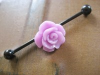 Industrial Barbell Piercing Bar Earring Jewelry Lavender Rose