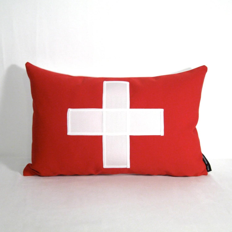 Swiss Flag Pillow Cover - Switzerland Pillow - Decorative Swiss Cross - Red White - Sochi Winter Olympics - Sunbrella Cushion 12X18 inch - Mazizmuse