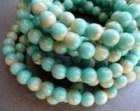 6mm Round Druk Beads - Turquoise Beige Druk - Premium Czech Glass Beads