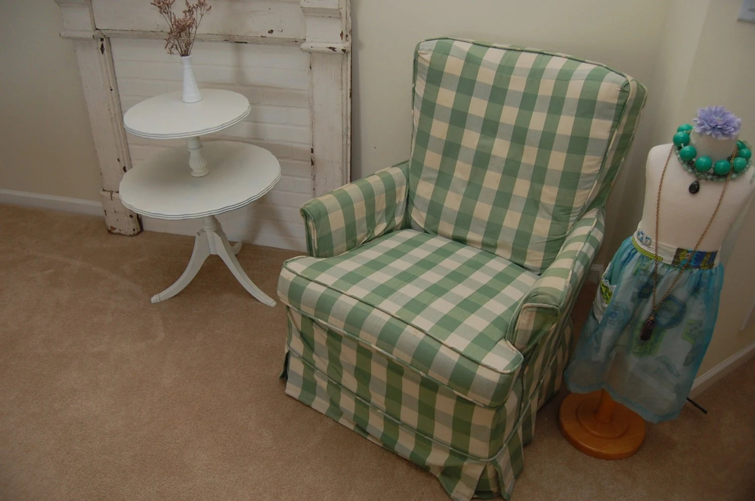 arm chair rocker walgreens shower items similar to vintage rocking swivel checkered slipcover shabby chic cottage style ...