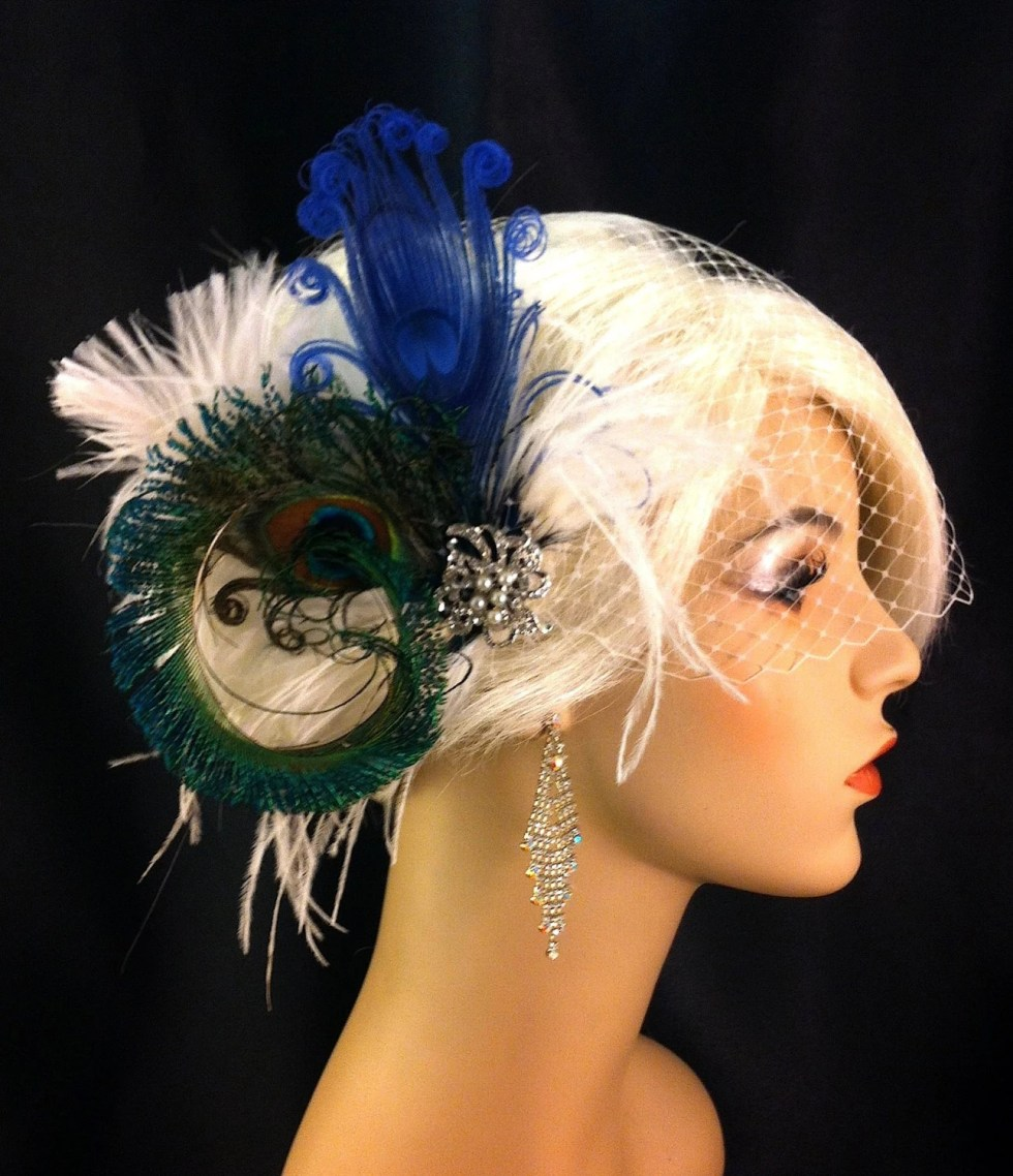 Peacock Feather Bridal Fascinator, Feather Fascinator, Bridal Fascinator, Royal Blue, Rhinestone and Pearl Brooch, Wedding Veil, Fascinator