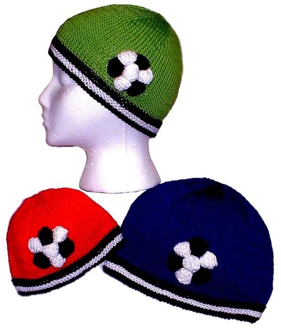 Hand Knit Pattern Soccer Ball Hat Knitting Pattern PDF