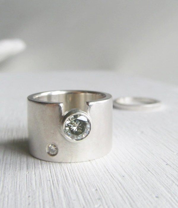 Modern Wide Band Engagement Ring Wedding Womens
