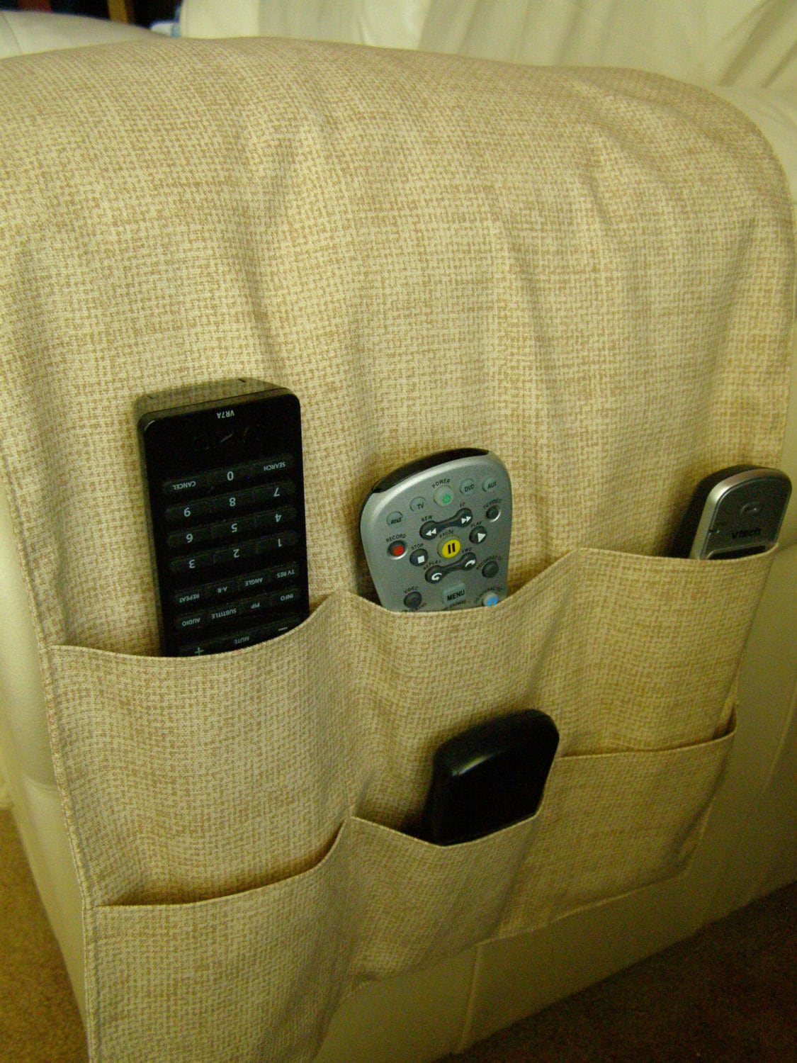 chair pocket organizer vintage wood folding chairs caddy tv remote control holder 6 beige/tan