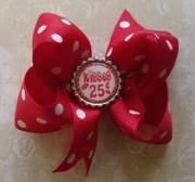 valentine hair bow bottle cap grosgrain