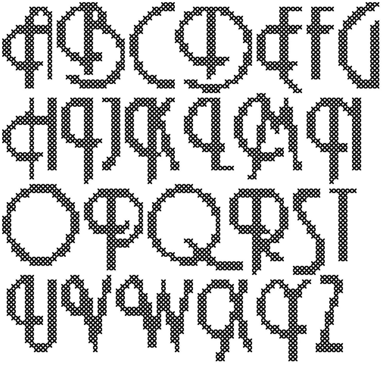 Cross Stitch Alphabet Pattern, Retro Alphabet Cross Stitch