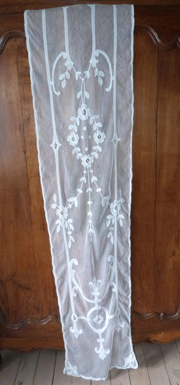 Antique tambour lace window curtain drape long French handmade
