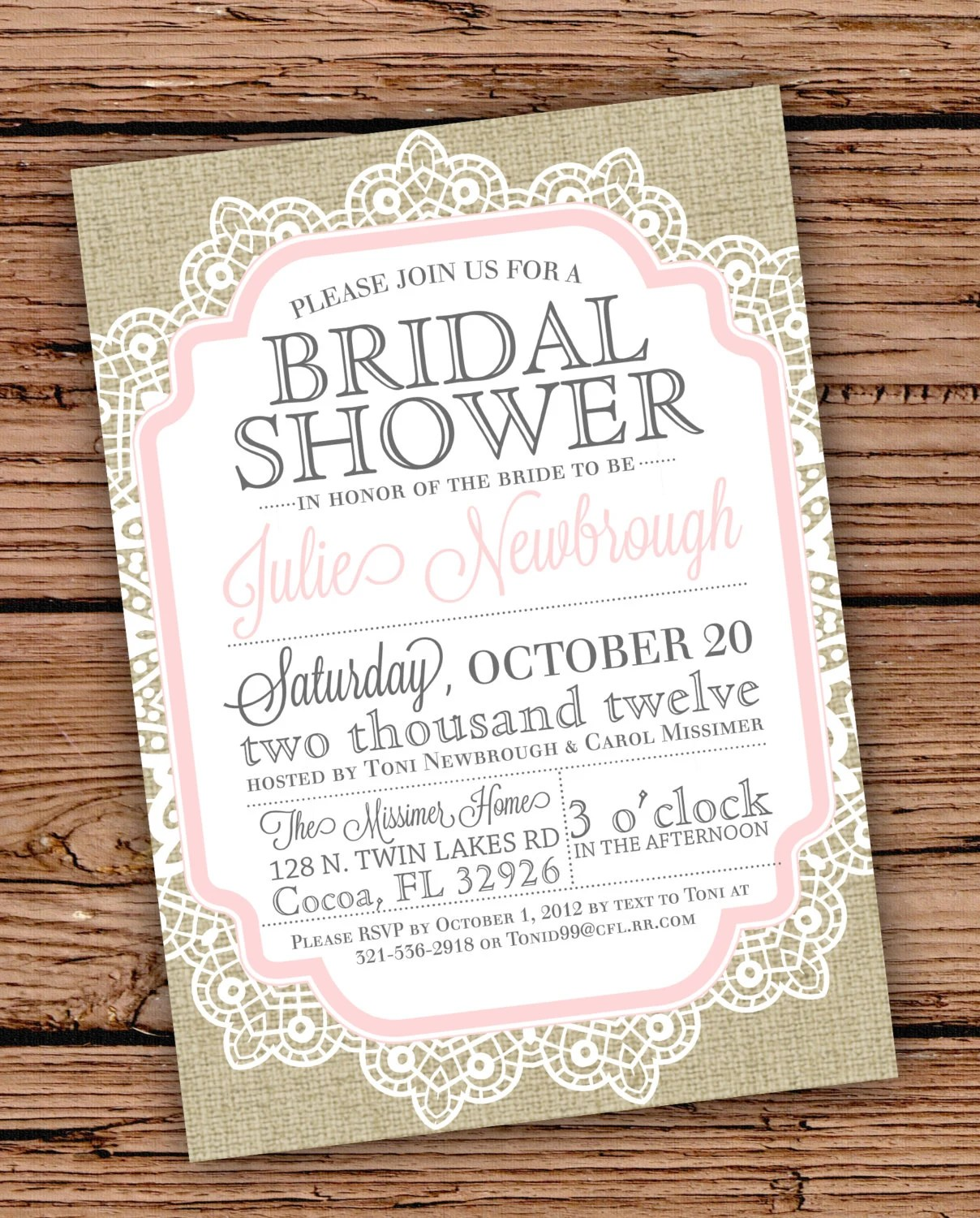 Burlap and Lace Vintage Bridal ShowerBaby by