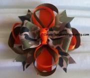 camouflage hair bow girls orange