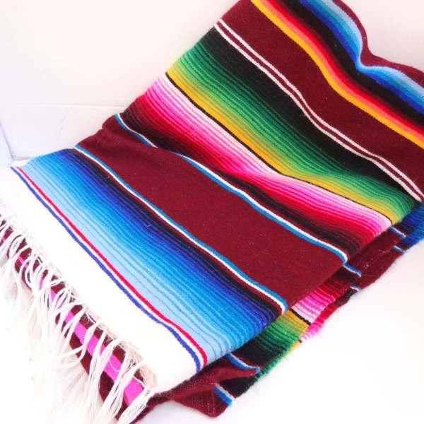 Vintage Technicolor Mexican Serape Blanket Throw
