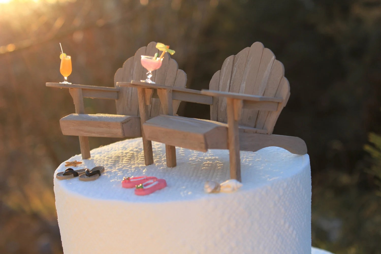 flip flop chair gardening stool beach theme wedding cake topper adirondack chairs and flops
