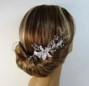 silver hair comb crystal rhinestone