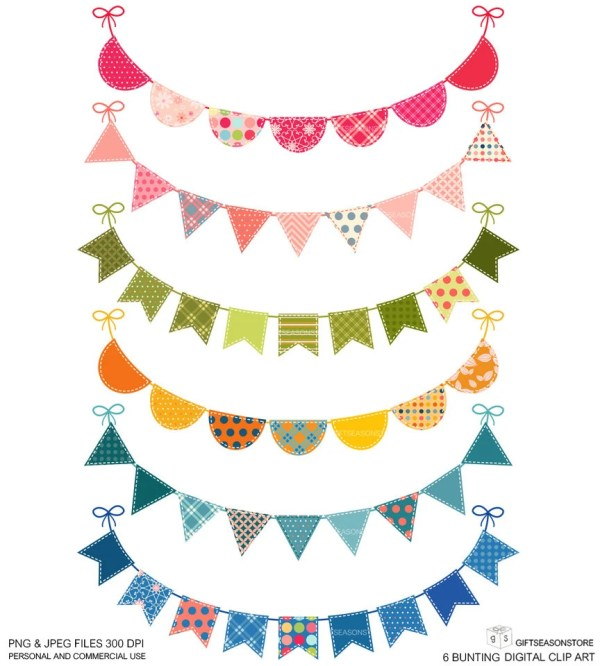 6 Bunting Digital Clip Art Personal And Commercial