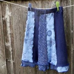Machine Washable Kitchen Rugs Shelf For Recycled T-shirt Skirt Upcycled Clothing Flared Navy