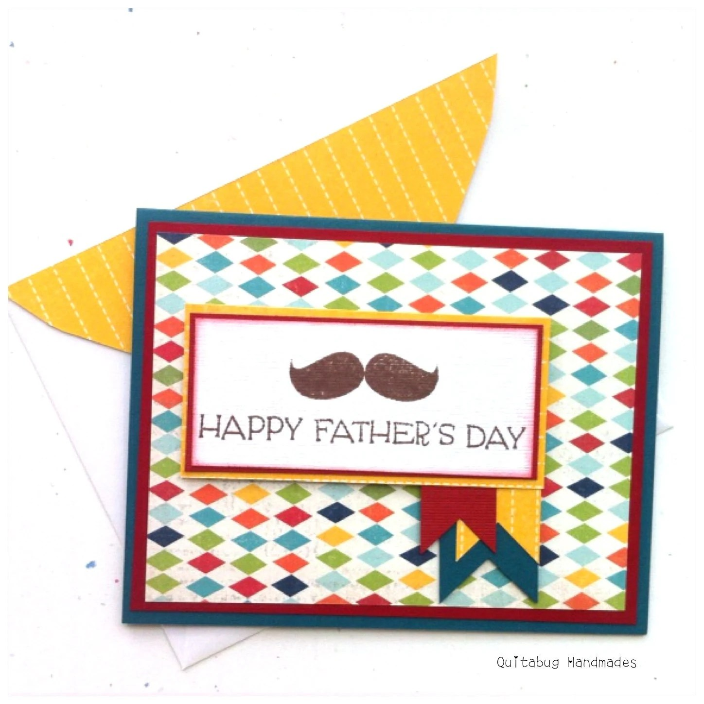 Argyle Mustache Father's Day Card w/ Matching Envelope