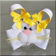 yellow bunny hair bow easter