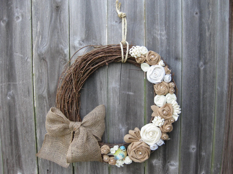 Spring Wreath Summer Wreath Burlap Wreath Rustic Wreath
