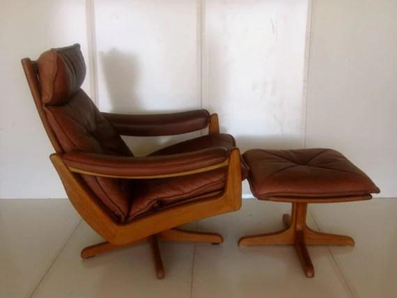 brown leather recliner chair barker lounge mid century modern scandinavian lied mobler