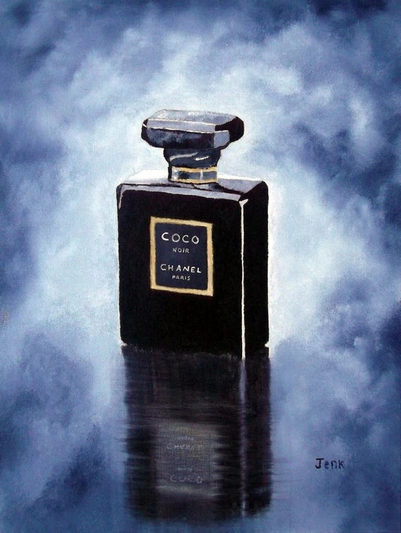 Items Similar To CHANEL Coco Noir Perfume Art Print 7 X 5 Oil Painting Fashion Gifts Wall Art