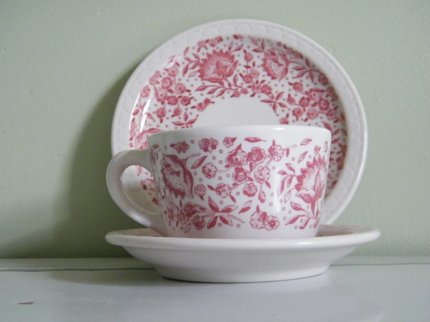 Vintage Red Roxbury Pattern Syracuse China By OneGirlsVintage