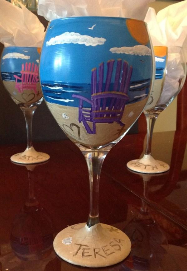 Painted Wine Glass Beach Chair