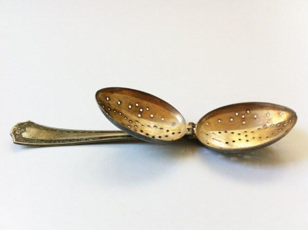 Vintage Antique Art Deco Tea Infuser Strainer Spoon Silverware