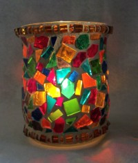 Cottage Mosaic Hurricane Candle Holder Multi Colored Glass