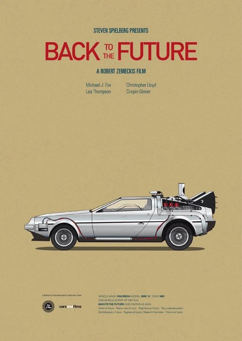 Back to the Future inspired movie poster, Delorean art print A3 Cars And Films