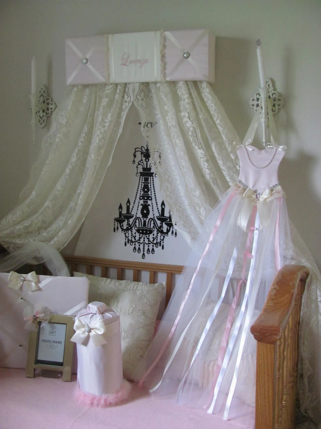 Crib Canopy Bed Crown Teesters Princess Pink Ivory Lace