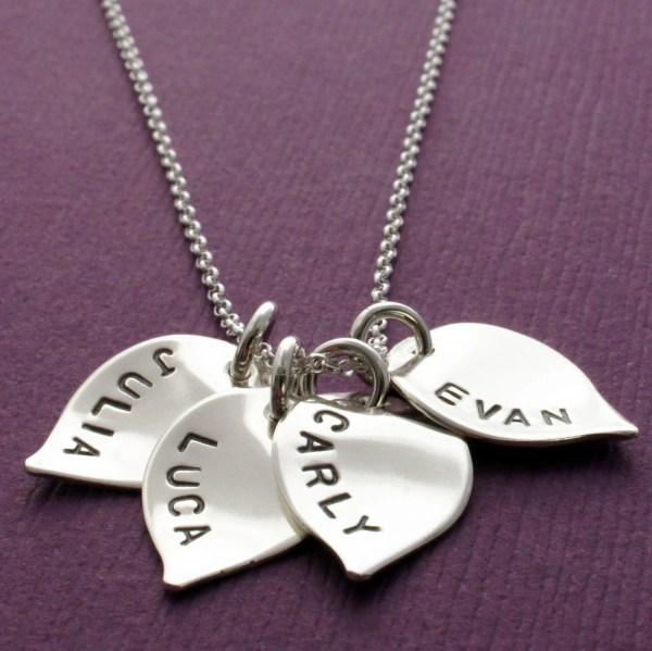 Personalized Necklace Sterling Silver Flower Petals