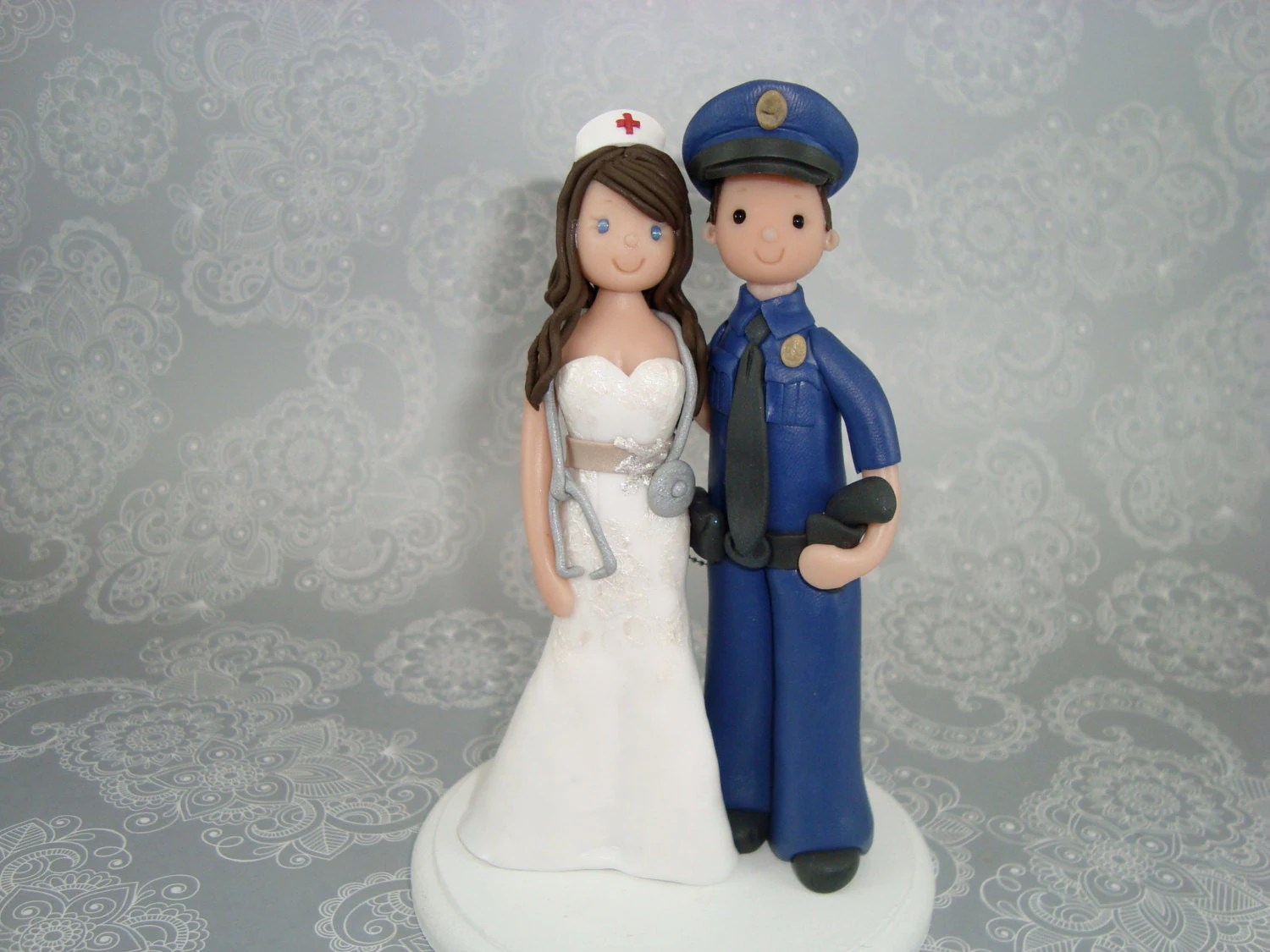 Police Officer  Nurse Personalized Wedding Cake Topper