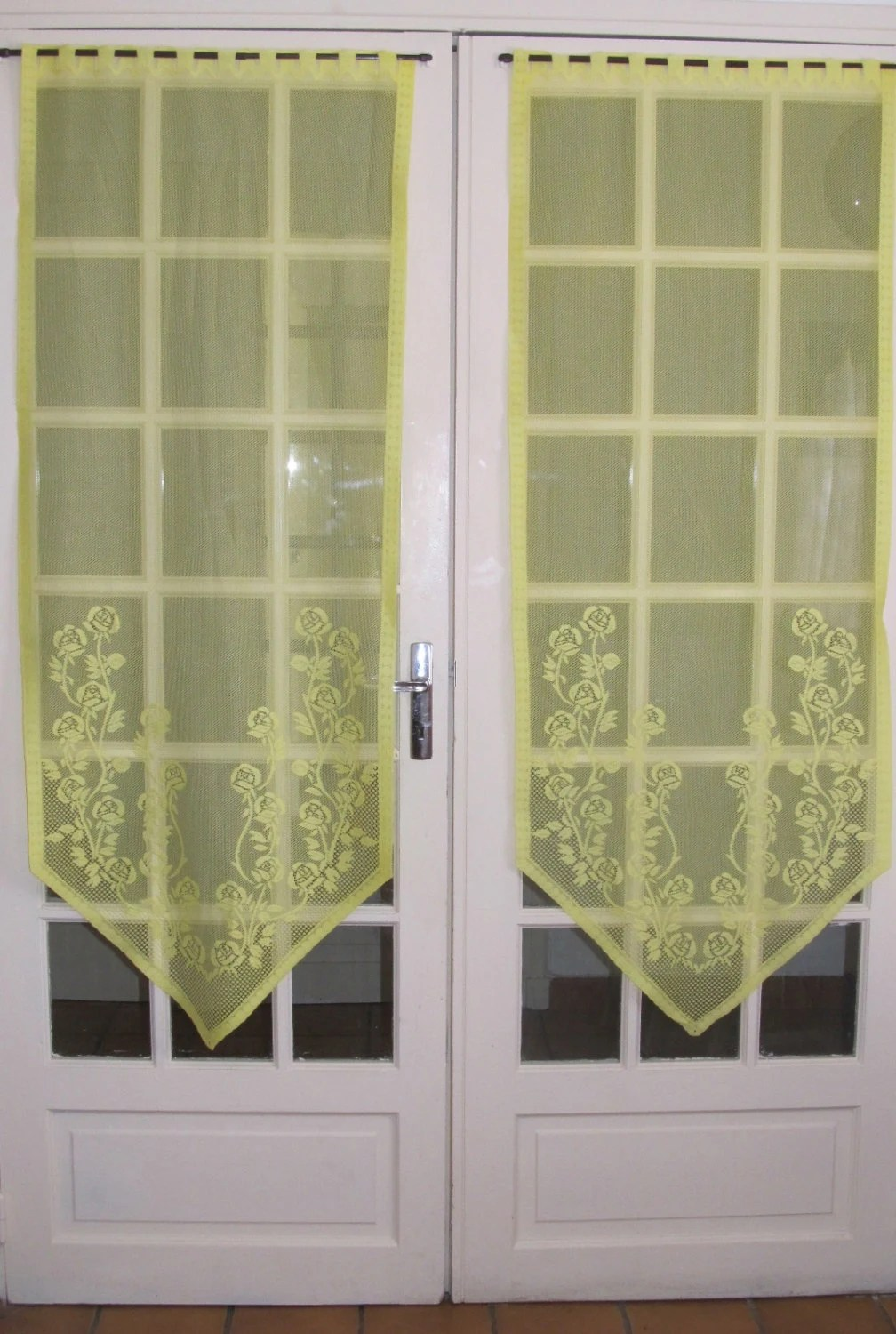 Lemon French Door Lace Curtains Yellow Sheer Floral Panels
