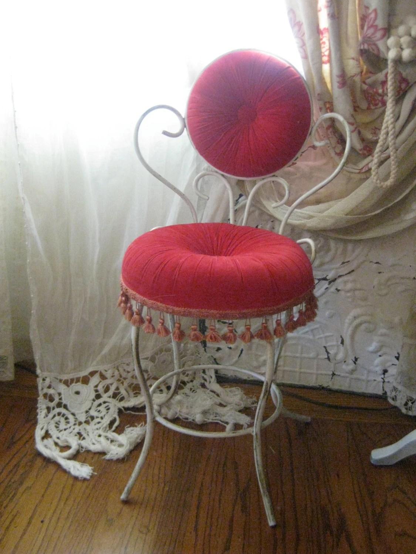FABULOUS Vintage French Tufted Cushion Tasseled Boudoir Vanity