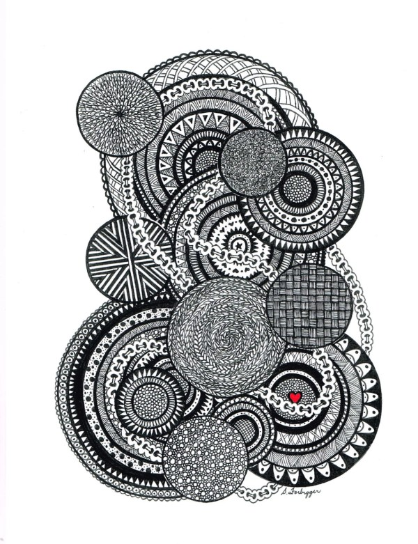 Black And White Zentangle Abstract Limegreenartshop