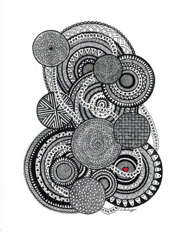 Black And White Zentangle Abstract Limegreenartshop