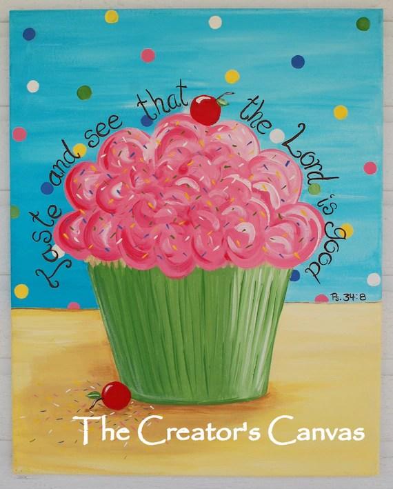 Items similar to Cupcake Painting Original 16 x 20 canvas Scripture Bible Verse Christian