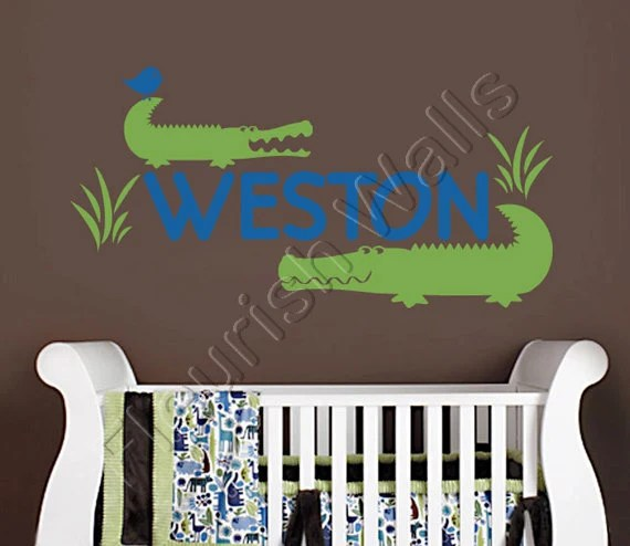 items similar to alligator wall decal personalized vinyl name