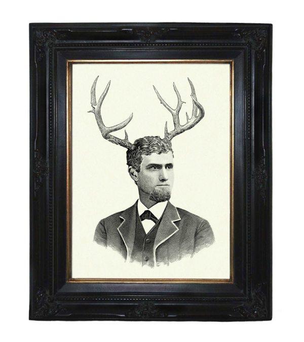Gentleman With Deer Antlers Victorian Steampunk Art Print