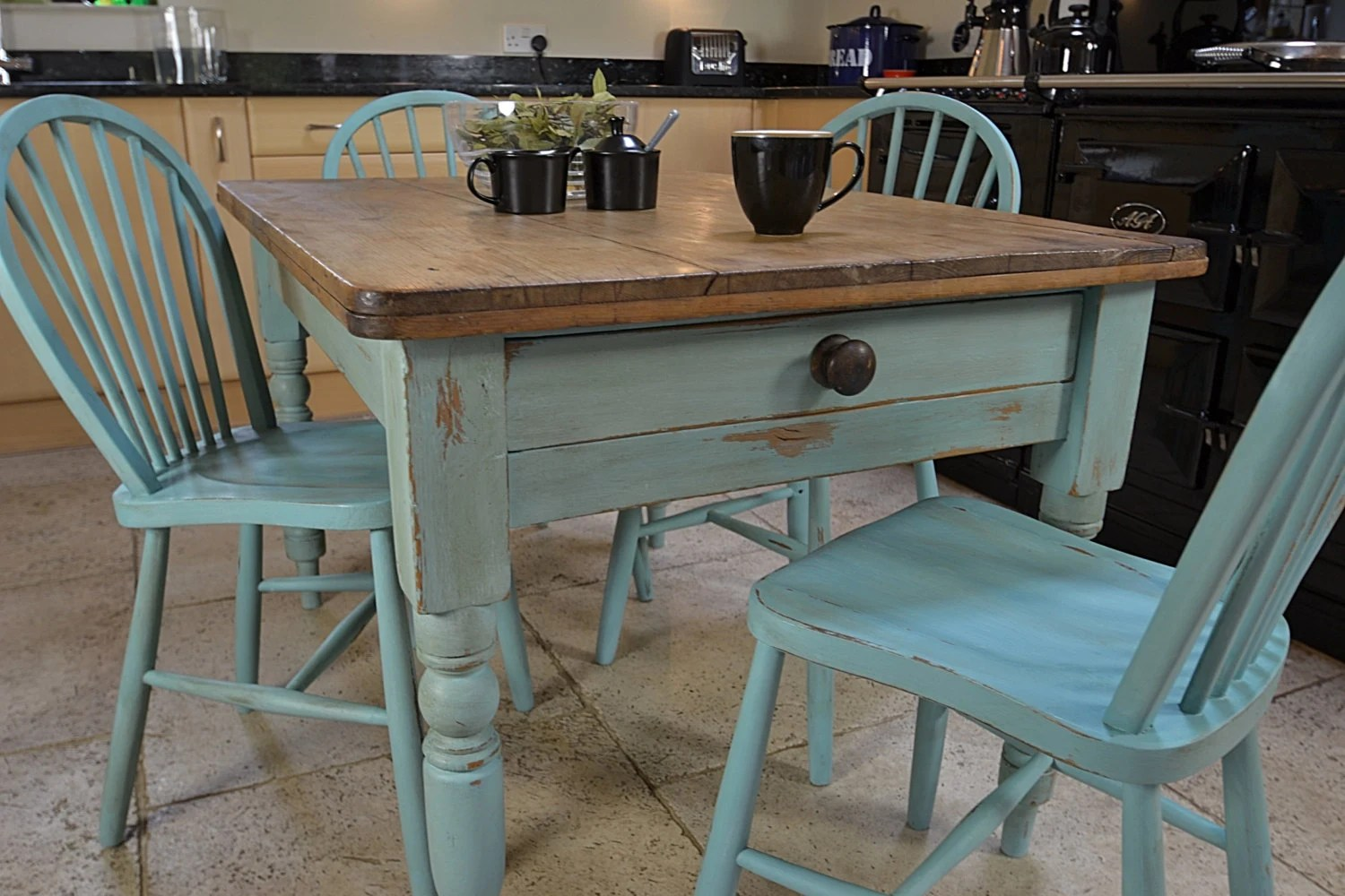 Farmhouse Table And Chairs Set Shabby Chic Farmhouse Rustic Dining Table With 4 Stickback