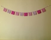 """Chic, mini flowers on 5"""" squares, Bunting, 10 pieces gives approx 60 inch  long."""