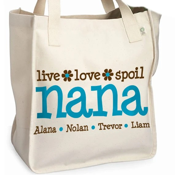 nana or grandma tote personalized tote bag -great mother's day gift for grandma