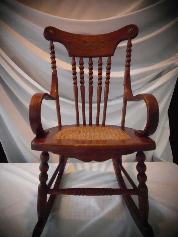 Antique Childs Rocking Chair OakCaneBentwood Arms Spindle