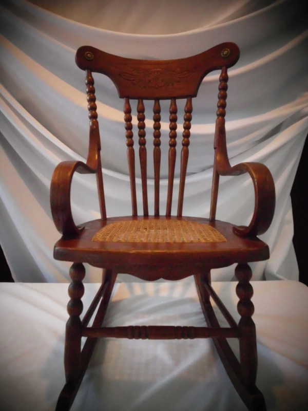 Antique Childs Rocking Chair Oak-cane-bentwood Arms Spindle
