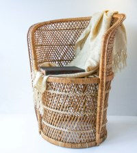 Vintage Rattan Bamboo High Backed Round Chair / Mid Century