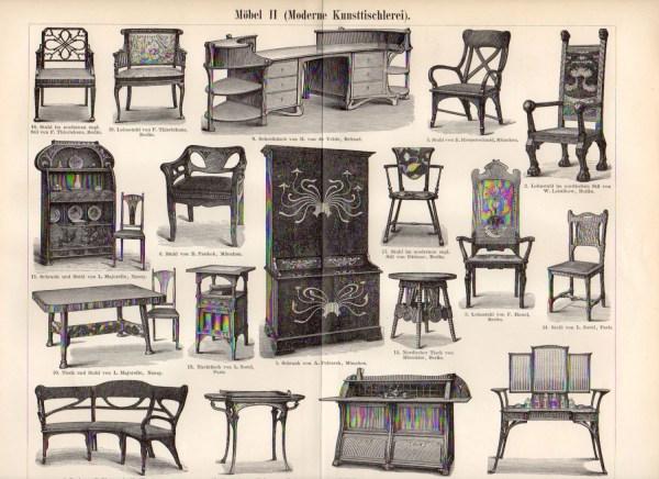 1899 Art Nouveau Furniture Modern Seat Armchair
