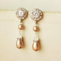 Champagne Pearl Bridal Earrings Vintage Style Rhinestone