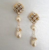 Items similar to Long Formal Wedding Earrings, Elegant ...