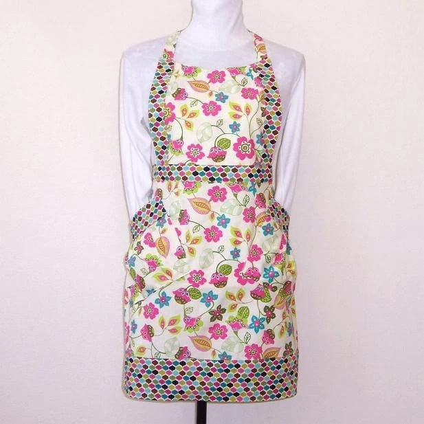 Floral Apron Womens Full Apron Pink Blue Flowers on Cream Background - abellawear