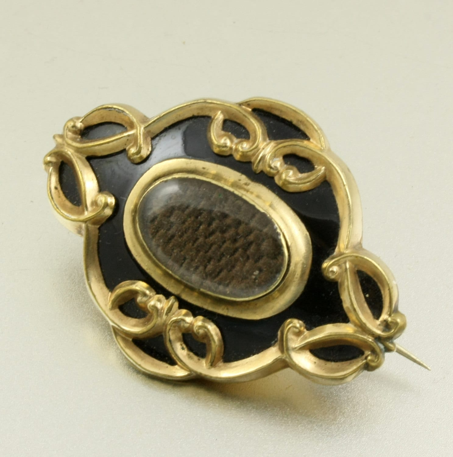Victorian Mourning Jewelry Hair Art Brooch Black Enamel By